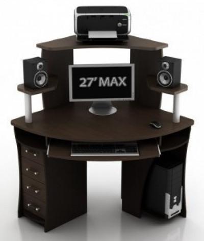 Угловой компьютерный стол КС-2 Сокол с надстройкой КН-1