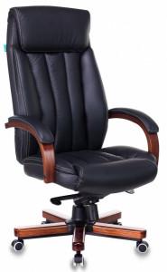 Кресло руководителя Бюрократ T-9922WALNUT/ BLACK черный кожа крестовина дерево