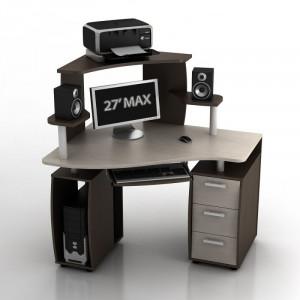 Угловой компьютерный стол КС-12У Ибис левый с надстройкой КН-1