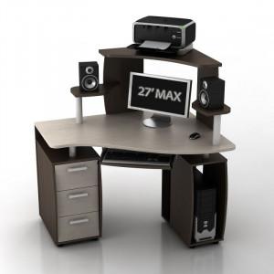 Угловой компьютерный стол КС-12У Ибис правый с надстройкой КН-1