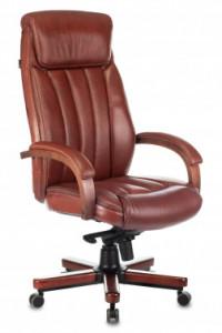 Кресло руководителя Бюрократ T-9922 WALNUT рыжая кожа