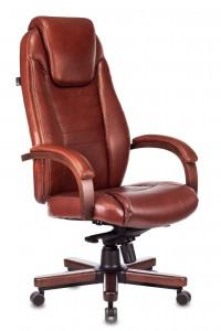 Кресло руководителя Бюрократ T-9923WALNUT коричневая кожа