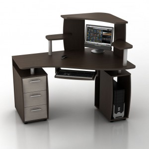 Угловой компьютерный стол КС-14У Ибис правый с надстройкой КН-1