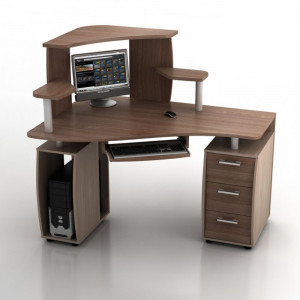 Угловой компьютерный стол КС-14У Ибис левый с надстройкой КН-1